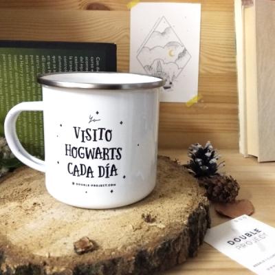 Taza metálica vintage Visito Hogwarts cada día | Double Project