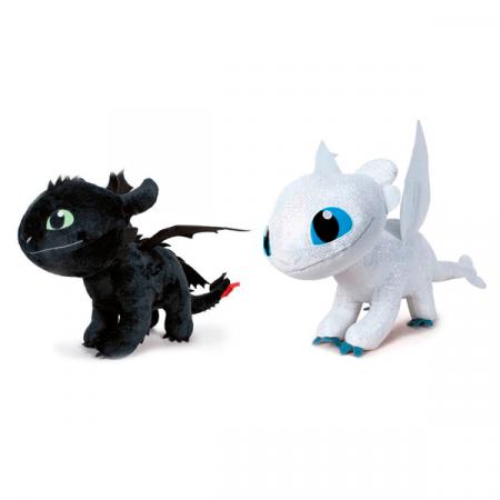 Cómo entrenar a tu dragón 3 Peluche Toothless Light Fury 32cm | Double Project