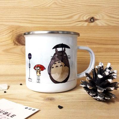 Taza vintage metálica Parada de Bus Totoro