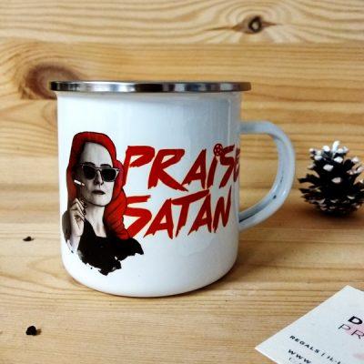 Taza vintage metálica Praise Satan   Double Project