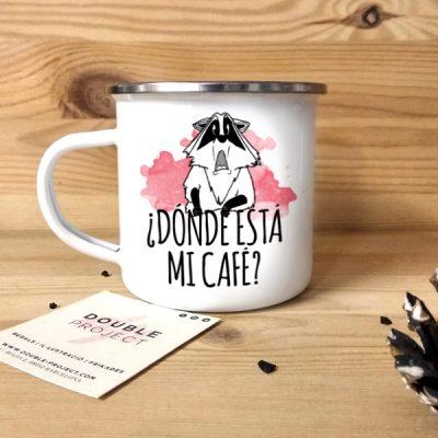 Taza vintage metálica mi café | Double Project