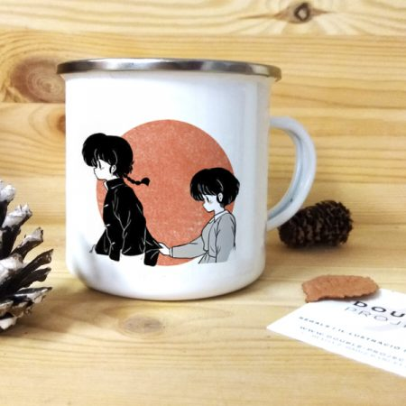 taza vintage metálica Ranma and Akane | Double Project